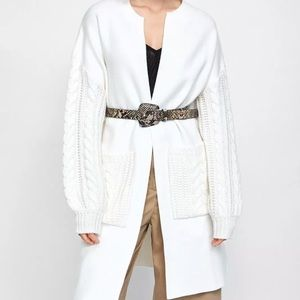 NWT Zara Knit Collection Open Front Coat Cream S